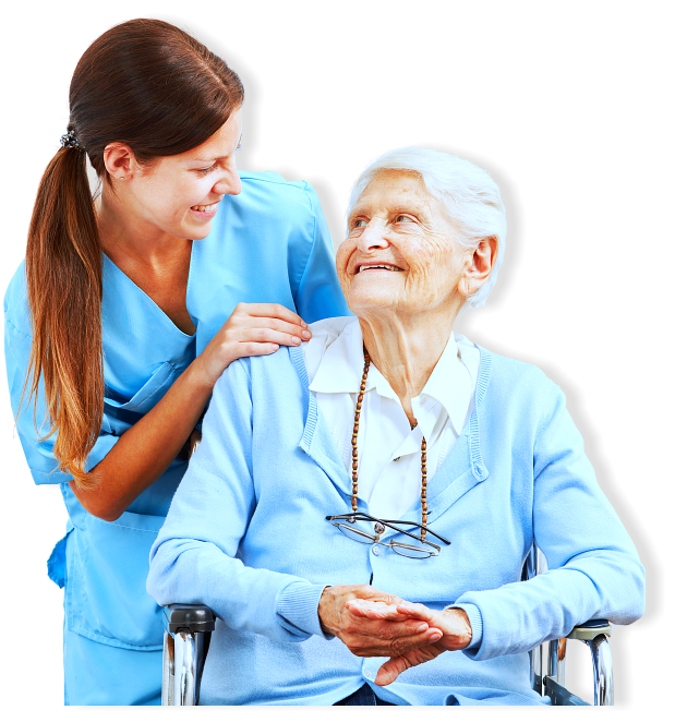 caregiver and senior woman sitting in the wheel chair smiling